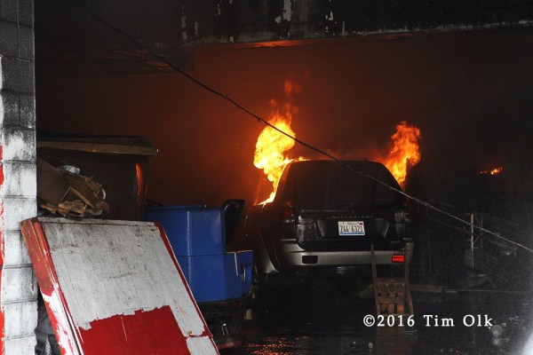 car on fire in garage