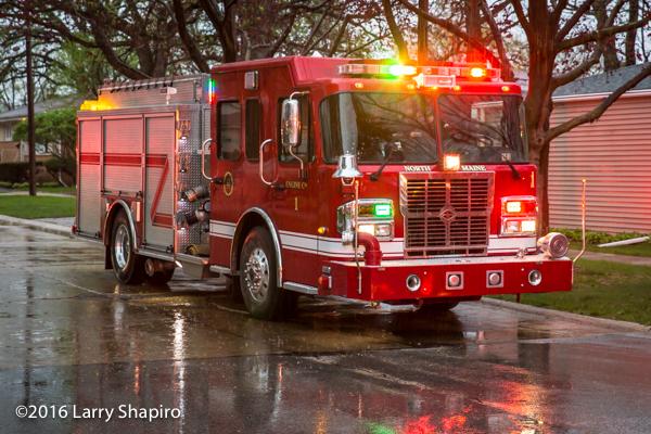 Spartan fire engine at fire scene
