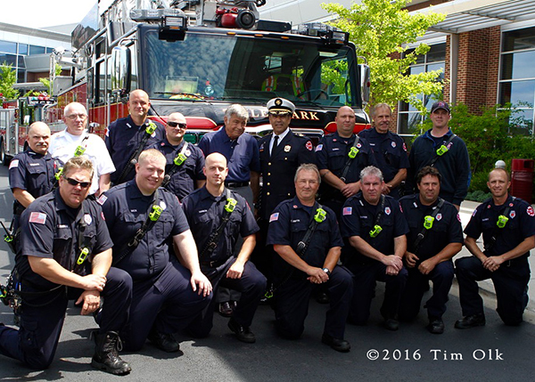 Tinley Park Fire Chief Kenneth Dunn with firefighters
