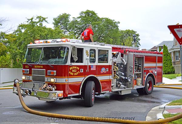 Berwyn fire engine at fire scene