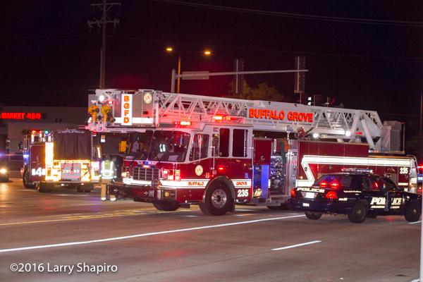 Buffalo Grove Tower Ladder 25 at crash scene