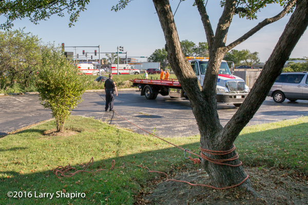 firefighters secure a car with a rope around a tree
