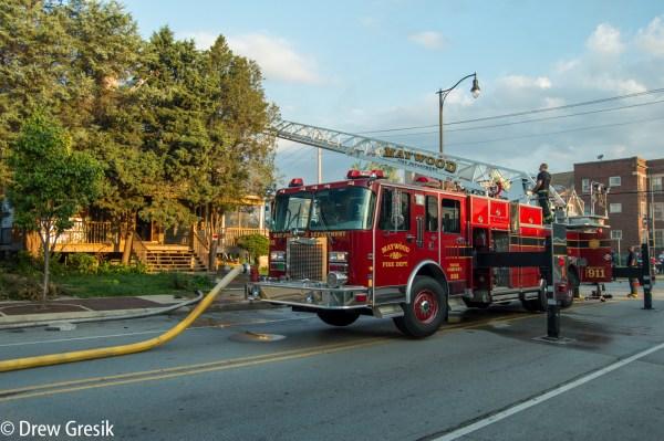 Spartan fire truck in Maywood IL at fire scene