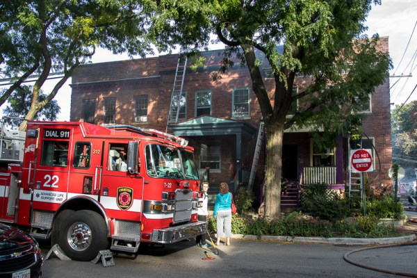 Evanston fire truck on scene