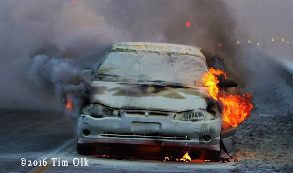 car fire on the expressway