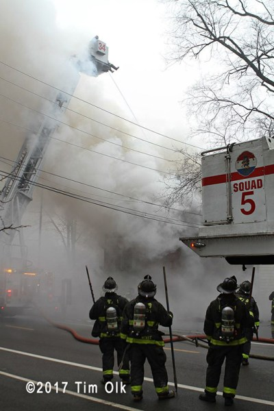 Chicago firefighters battle smokey fire