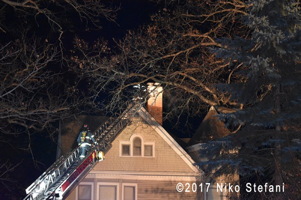aerial ladder raised on fire truck