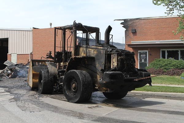 front end loader destroyed by fire