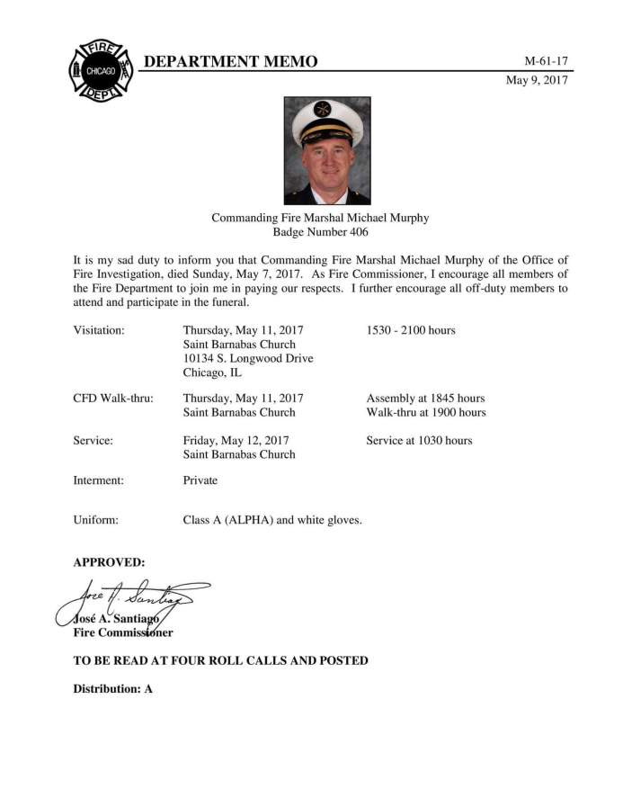 Chicago Fire Department Office of Fire Investigations Chief Michael V. Murphy
