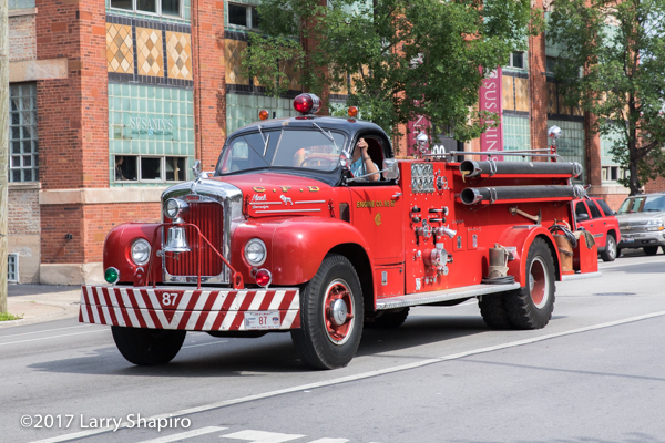 vintage B-Model Mack fire engine