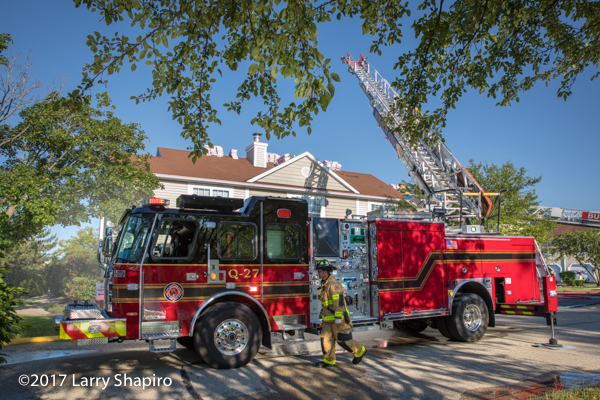 Buffalo Grove FD E-ONE Cyclone quint at work