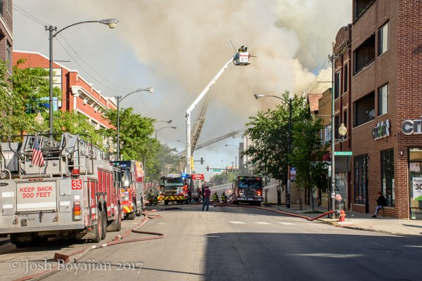 Chicago FD Squad 2A battling a fire