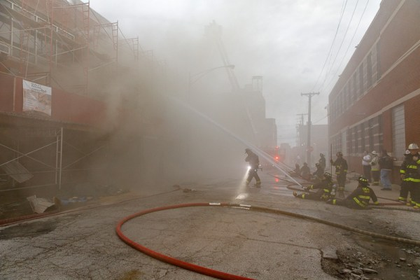 smokey conditions during building fire