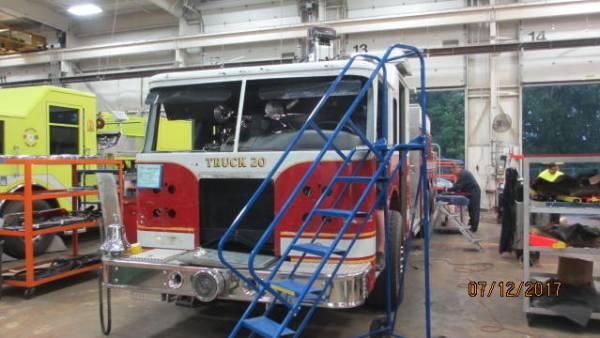 fire truck in body shop at Pierce