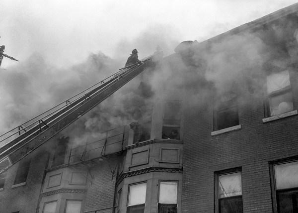 historic Chicago fire scene photo