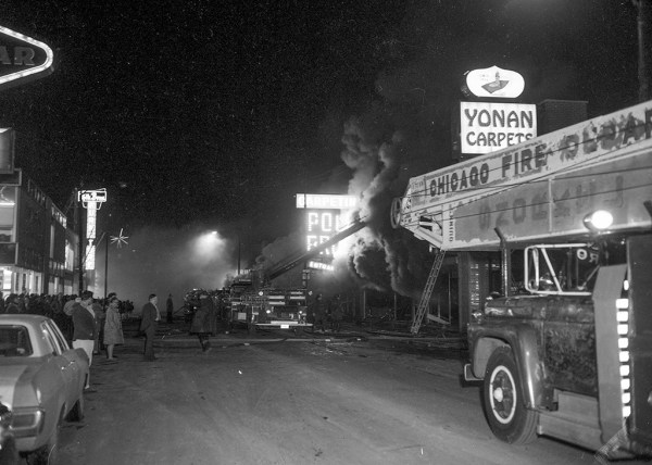 5-11 alarm fire in Chicago 2/26/72 Polk Brothers Furniture