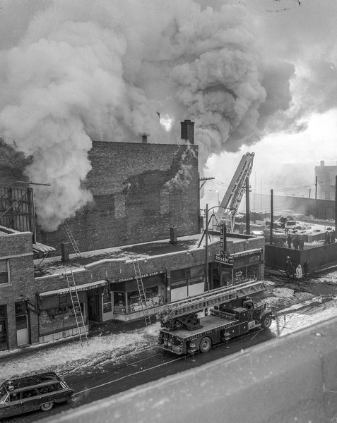 vintage 4-11 alarm fire in Chicago 1962