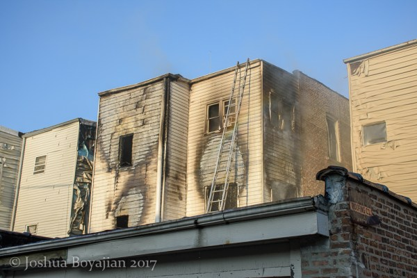 aftermath of rear porches fire in Chicago