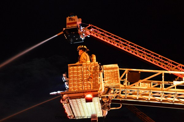 two tower ladders working master streams