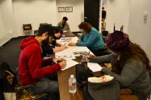 Chicago Publisher's Resource Center Literary Coordinator Elizabeth O'Connell-Thompson leads a letter-writing workshop.
