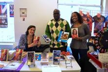 Author exhibitors KB Jensen, James (GPA) Gordon, and Superhero Huff.
