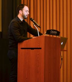 Kyle Churney at Rhino Poetry reading.
