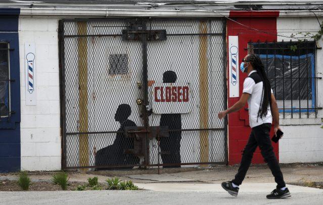 A closed barber shop in Ward 7 during the coronavirus disease (COVID-19) outbreak in Washington, U.S.