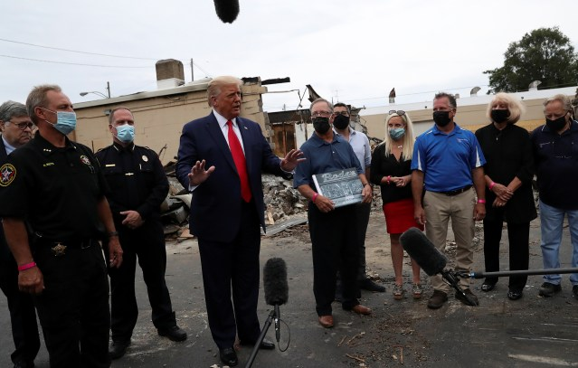 U.S. President Trump visits site of protests against police brutality and racial injustice in Kenosha, Wisconsin