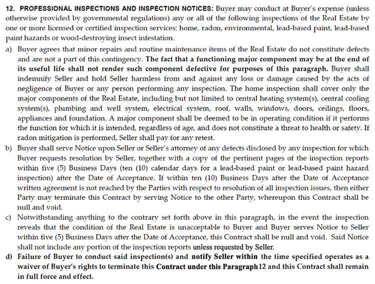 multi-board residential real estate contract 6.1 inspection clause