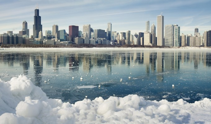 Winter panorama of Chicago.