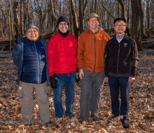 Here are some of our dedicated Nature Scouts aseembled at O'Hara Woods: (left to right) Charlie Yang, Jim Yassick, Mike MacDonald, and Zeke Wei.