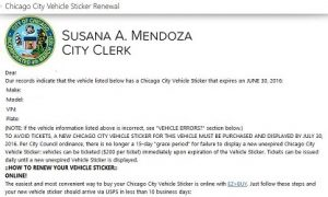 City of Chicago Vehicle Sticker renewal 2