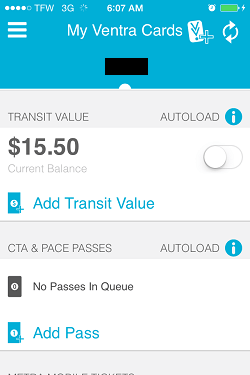 Ventra App Metra Ticket screen 1