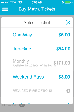 Ventra App Metra Ticket screen 10