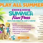 Chuck E Cheese Summer Fun Pass