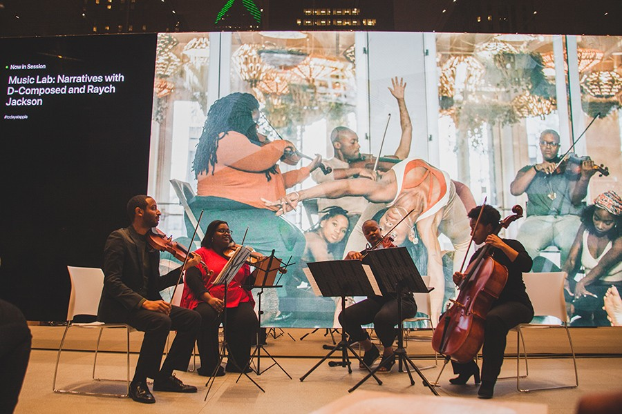 D-Composed at its inaugural D-Composition event, held last month at the Michigan Avenue Apple Store: violinists Kyle Dickson and Caitlin Edwards, violist Danielle Taylor, and cellist Kelsee Vandervall subbing for Tahirah Whittington