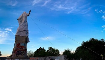 The police used pepper spray to subdue protesters attempting to remove the statue of Christopher Columbus from Grant Park.