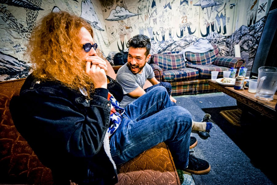 Alejandro Morales in the Bottle's green room with Francis White of White Mystery