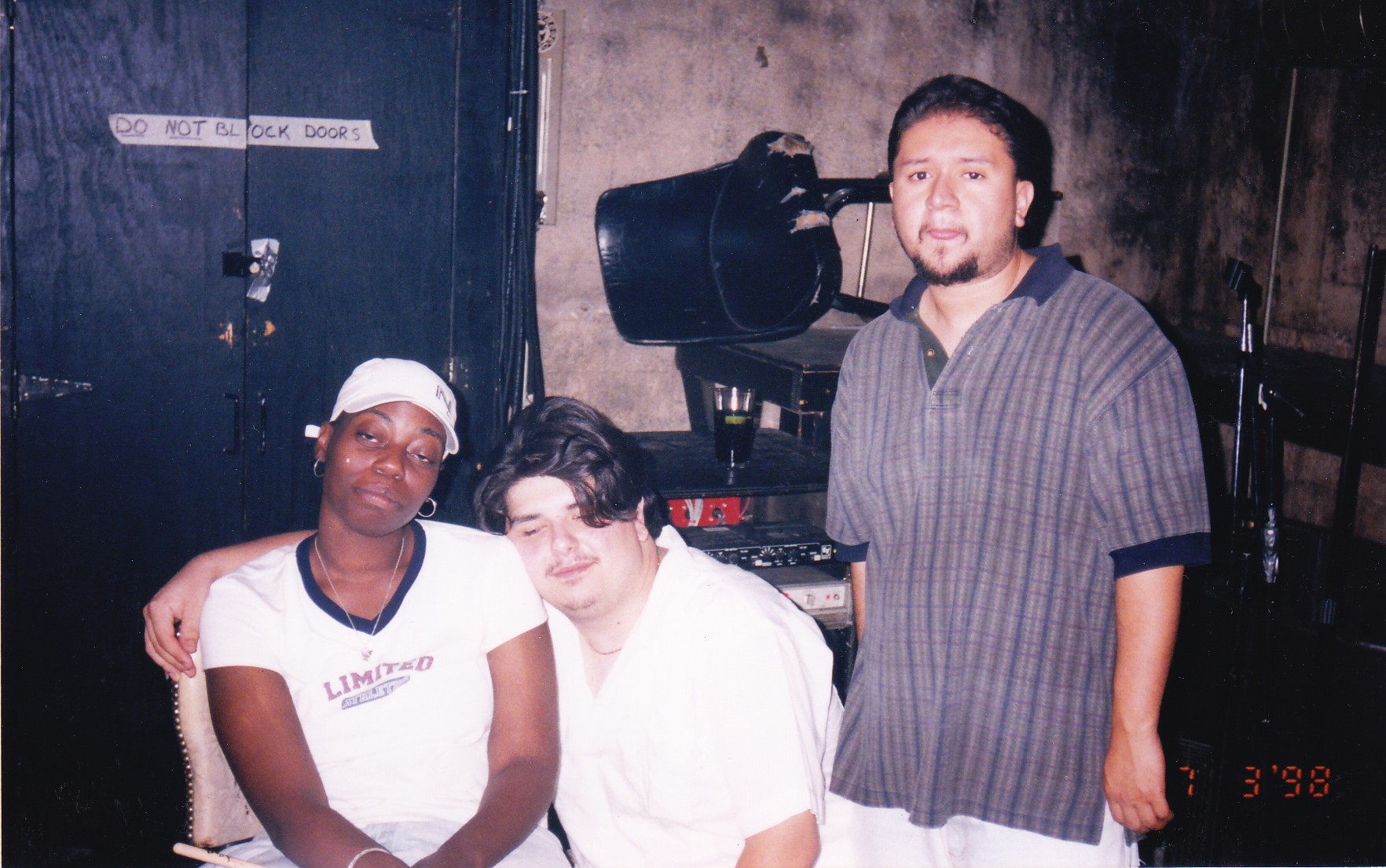 Ang13 (left) with PNS and Panik of the Molemen at Blue Groove Lounge in 1998