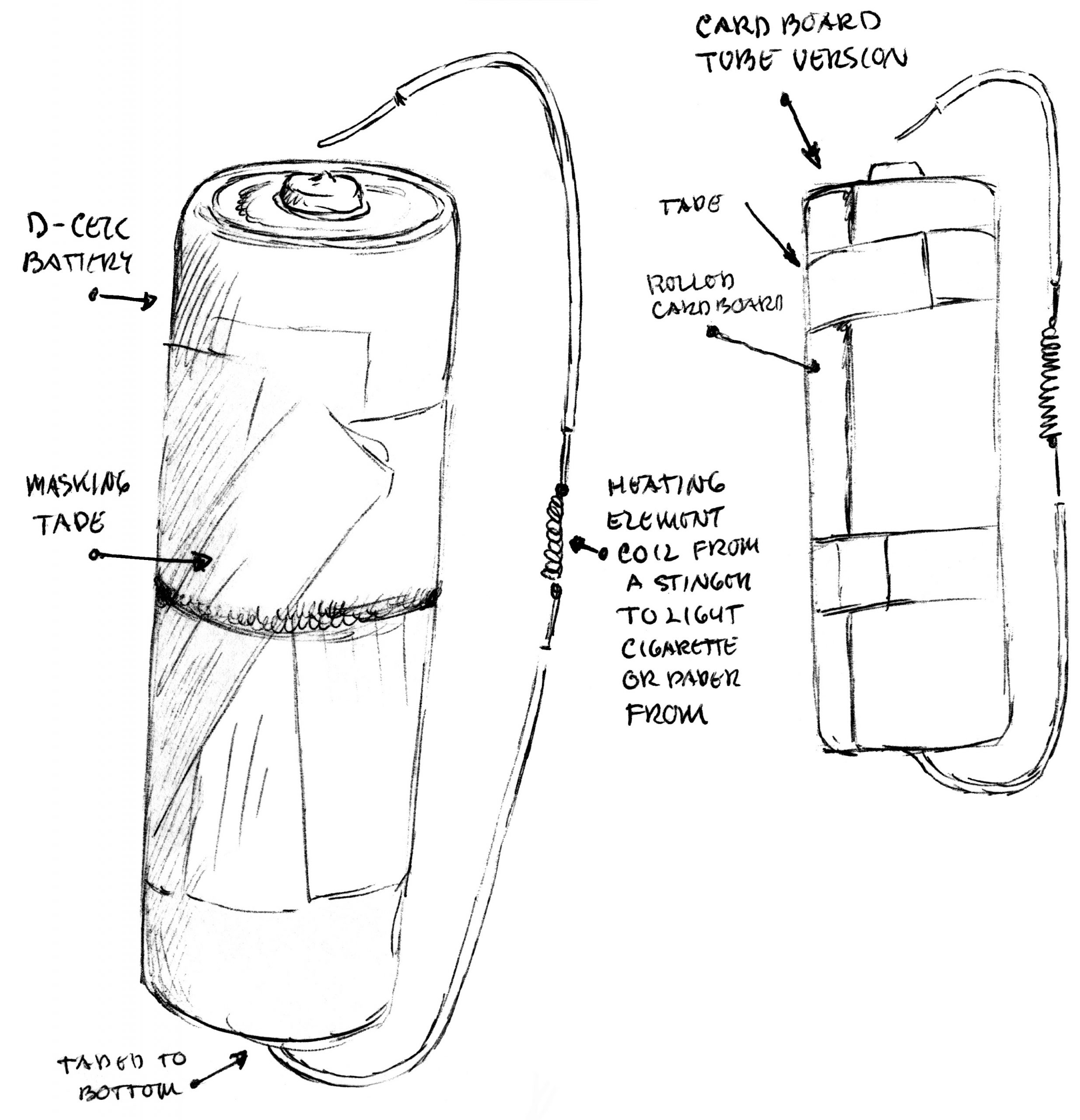 Angelo's drawing of his cigarette lighter invention