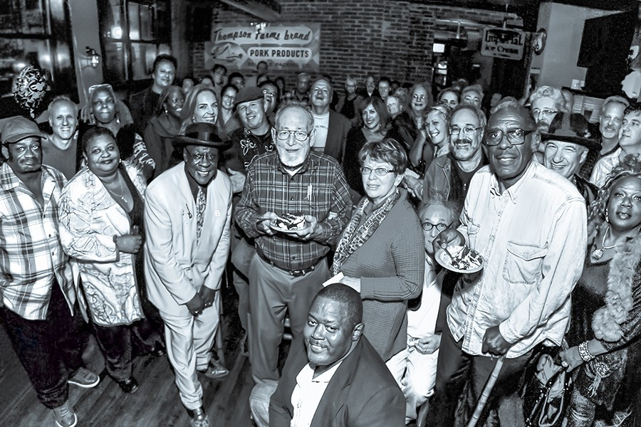 Bob Koester's 80th birthday in 2012: Susan Koester is to his right, Bob Jr. behind him, and Bob Stroger and Deitra Farr to his left. Quintus McCormick is crouched in front, Zora Young is at far right, and all the other famous people's names won't fit here.
