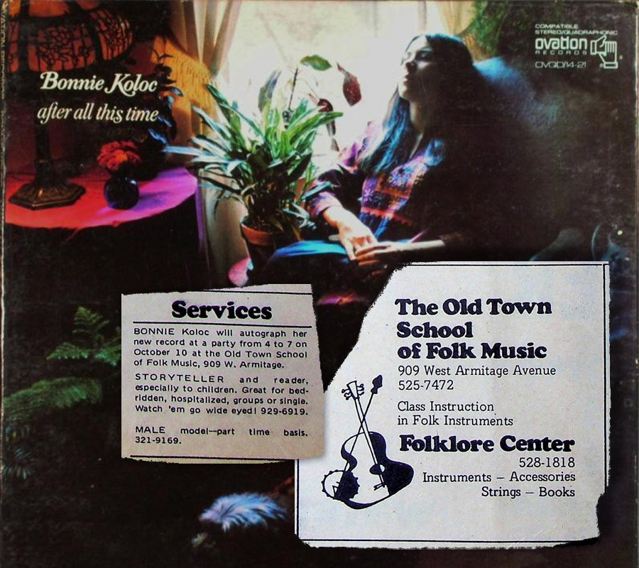 The cover of Bonnie Koloc's 1971 debut album, After All This Time, with ads from the very first issue of the Reader—which came out not long before the record did.