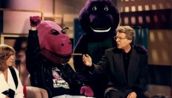 "From the ""Dads who hate Barney"" episode of <em>The Jerry Springer Show</em>, November 14, 1993 (image added 2018)"