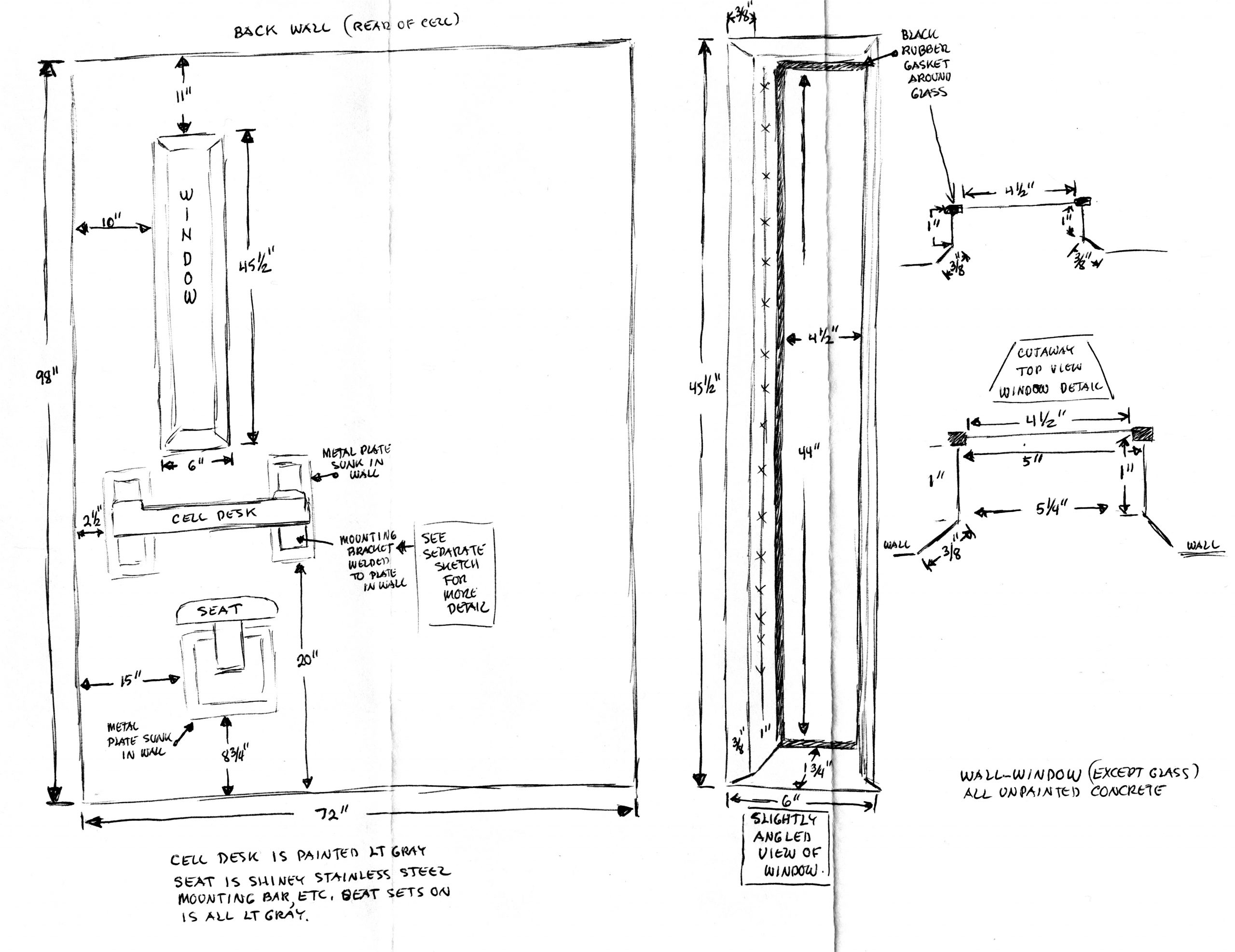 Blueprint of Angelo's prison cell featured in <i>Prisoners' Inventions</i>