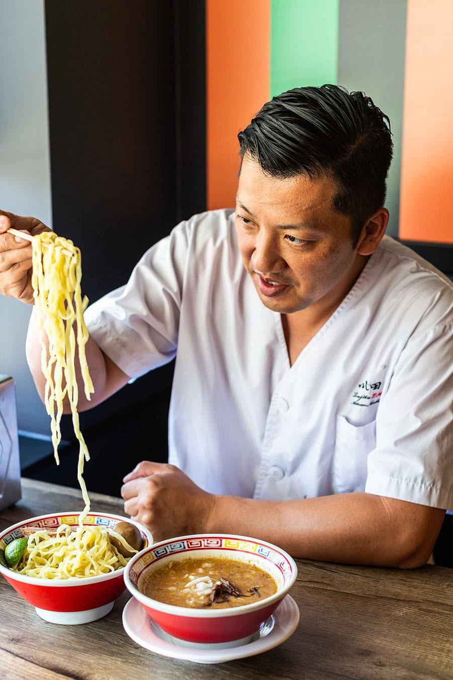 Chef Kenta Ikehata with <i>tsukemen</i> ramen