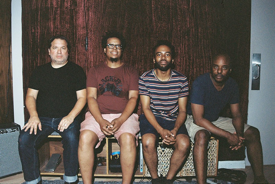 Josh Johnson (second from right) replaces Noel Kupersmith in the current version of the Chicago Underground Quartet, with Rob Mazurek, Jeff Parker, and Chad Taylor.