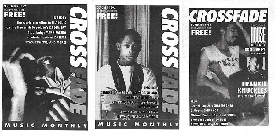 The covers of all three issues of <i>Crossfade</i>, from September through November 1992