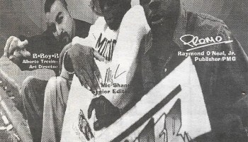 BboyB, Mic Shane, and Raymond O'Neal pictured on the <i>FlyPaper</i> staff page from a 1994 double issue