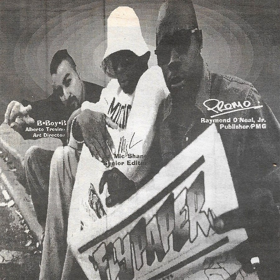BboyB, Mic Shane, and Raymond O'Neal pictured on the FlyPaper staff page from a 1994 double issue