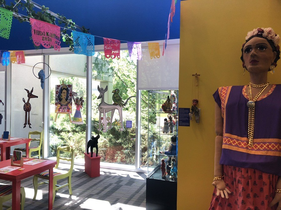 """A view of the Kahlo Kids' Korner that accompanies the """"Frida Kahlo: Timeless"""" exhibition."""